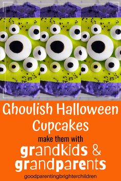 Here are 9 spooky fun Halloween cupcakes for kids, grandkids, parents and grandparents to make. Yummy recipe with cream cheese and chocolate, sprinkles galore, marshmallow layers and more. Lots of ghoulish Halloween cupcake designs. #halloweencupcakes #halloweencupcakedecorations #halloweencupcakesforkids #easy #halloweencupcakesideas #halloweencupcakesforkidssimple #halloweencupcakesdecorationsscary #flavors