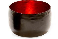 Black & Red Metal Bowl, Large  ( $15.00 )