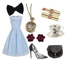 """DisneYBound Dapper Day: Alice in Wonderland"" by angelmvidales on Polyvore featuring Office, claire's, Mrs Moore's Vintage Store and Yves Saint Laurent"
