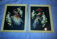 Two Paintings with Feathers by Glenn F Bastian Silver Pheasant, Bird of Paradise