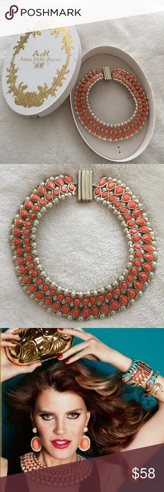 ANNA DELLO RUSSO AT H&M AdR Anna Dello Russo at H&M -- Limited Edition. Gold Toned Choker Coral Stones and Faux Pearl with Magnetic Closure. Worn Once. Excellent Condition.  Box Included. SOLD OUT. Anna Dello Russo Jewelry Necklaces