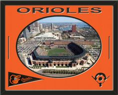 One framed aerial view of the Baltimore Orioles team stadium with a Baltimore Orioles mini pennant, double matted in team colors to 28 x 22 inches.  Includes one baseball diamond and ORIOLES*, which are cut into the top mat and show the bottom mat color.  The oval stadium view may be cropped to fit.  (Pennant design subject to change)  $169.99 @ ArtandMore.com