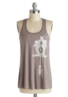 Trail as Old as Time Top in Clock - Mid-length, White, Novelty Print, Casual, Tank top (2 thick straps), Tan, Summer, Variation, Scoop