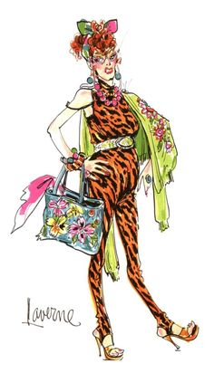 """Early 1970's A costume design by Bob Mackie for Cher, felt pen and graphite on paper, signed. The design created for """"The Sonny and Cher Comedy Hour"""" character Laverne, showing Cher wearing a full bodysuit of yellow leopard with sweater and tote bag"""