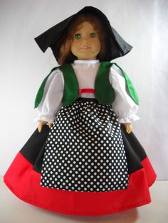 "Fits 18"" American Girl doll Italy Italian folk dress clothes P COSTUME ONLY"