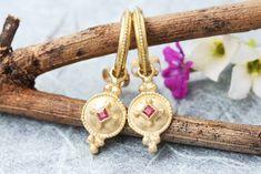 Gold Ruby Earrings Gold Hoop Earrings Solid Gold Earrings | Etsy Ruby Jewelry, Ruby Earrings, Pendant Earrings, Gold Hoop Earrings, Boho Earrings, Or Rose, Rose Gold, Boho Wedding Ring, Solid Gold