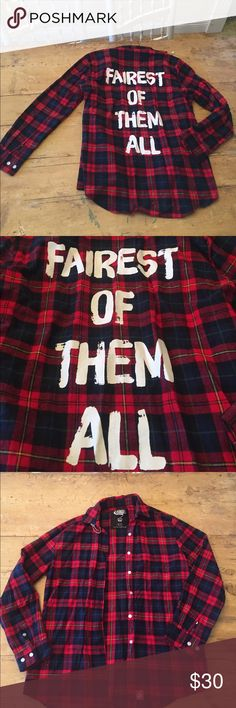 "RARE ""fairest of them all"" flannel❤ These exact ones aren't made anymore they were for a limited time only! Super rare ❤️ never worn. So much life left 😭😍 it's a brand called CAKEWORTHY but not what is tagged as the brand..couldn't find the brand on poshmark but the website for these shirts is on the tag in the photo and no this one isn't on the website anymore because it's not made anymore so if you love it make an offer 👌🏻 cake Jackets & Coats Blazers"