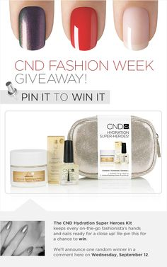 Re-pin this by Sept. 12 at noon PT to enter to win the CND Hydration Super Heroes Kit - just what every busy fashionista needs to keep her nails amazing! We'll announce the winner in a comment here. Good luck and happy New York Fashion Week! #mbfw #nyfw