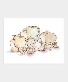 Loxly Hollow Sleepy Elephants Print