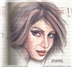 Color-Pencil Portrait Drawing - Bipasha Basu magically appears on a page of my diary!