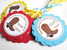 """Adorable Cowboy Boots Favor Tags that are perfect for a little boy's birthday party! Each gift tag is personalized with your little one's name. Each tag has this fun phrase: """"Thanks partner for coming to my party! Yeehaw"""". I add a little star sheriff badge next to the name. How cute!"""
