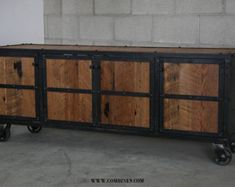 Reclaimed Wood Media Console rustic credenza. Vintage by leecowen