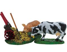 Lemax Village Farm Cow Pig Accessory Set House Animal Figurine Display house #Lemax