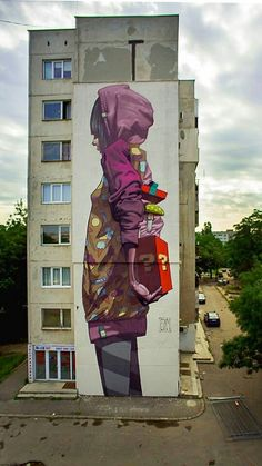 Amazing large scale sainer graffiti street art, making the urban landscape look incredible. 3d Street Art, Murals Street Art, Urban Street Art, Graffiti Murals, Amazing Street Art, Street Art Graffiti, Street Artists, Amazing Art, Graffiti Artists