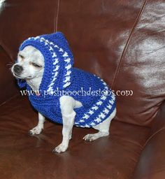 Posh Pooch Designs Dog Clothes: Colorado Strong Dog Hoodie - Small Dog Hoody Crochet pattern for purchase Dog Sweater Pattern, Crochet Dog Sweater, Crochet Hoodie, Dog Pattern, Crochet Hats, Hoodie Pattern, Dog Crochet, Small Dog Clothes, Pet Clothes