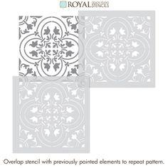 Painted Bathroom Floors, Painting Tile Floors, Painted Floors, Stencil Painting, Stenciling, Painted Furniture, Stencil Patterns, Stencil Designs, Tile Patterns