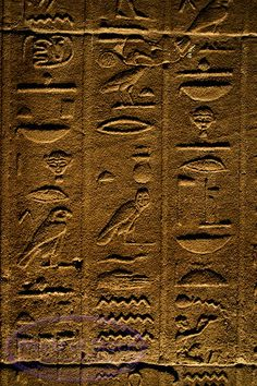 Hieroglyphics On A Wall Inside A Pyromid In Egypt.,