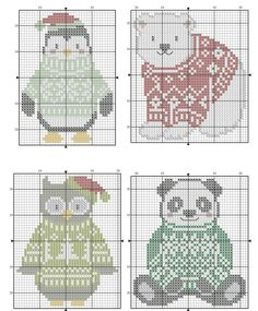 Punto de cruz sencillo · cozy critters cozy critters from cross crazy christmas issue 2016 3 of 4 Mini Cross Stitch, Cross Stitch Animals, Cross Stitch Charts, Cross Stitch Designs, Cross Stitching, Cross Stitch Embroidery, Cross Stitch Christmas Ornaments, Christmas Cross Stitch Patterns, Knitting Charts