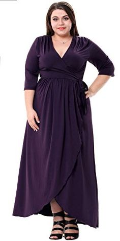 Sapphyra Womens Retro 50s Mid Sleeve Wrap Waist Office Homecoming Plus Dress Dark Purple 4X Plus >>> Click image for more details.