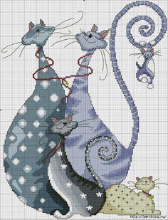 Схемы для вышивки *Забавные коты*. Обсуждение на LiveInternet - Российский Сервис Онлайн-Дневников