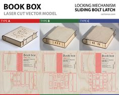 https://flic.kr/p/zzZFrR | BOOK-BOX. 3 lock types in 1 set! | Wooden BOOK-BOX with sliding bolt latch.  Vector model / project plan for laser cutting.  3 Lock types in 1 set!   cartonus.com/book-box/
