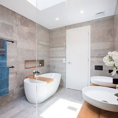 Another view, just because it was so good (and because we'd really like to be soaking in that tub!) Shop @lisaandjohn's bathroom accessories at The Block Shop now - www.theblockshop.com.au  #theblockshop #9renorumble #perfectbathroom