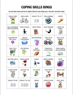 coping skills bingo- practice each and talk about which ones are best for each client