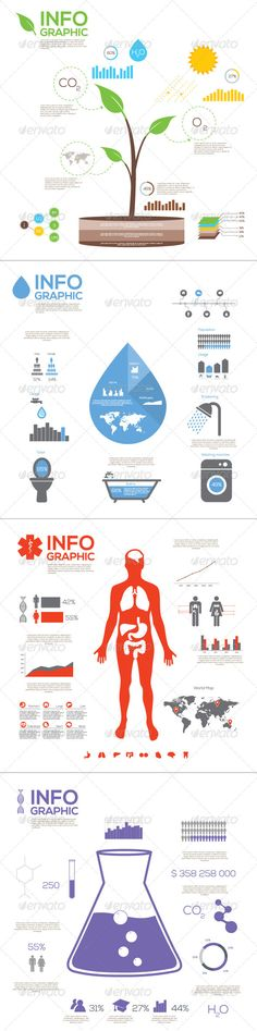 Vector Infographic Elements Pack  #GraphicRiver         Vector Infographic Elements Ecology, Water, Medical and Chemistry. This is a template pack of infographic elements: charts, graphics, shapes, icons etc..   It contains: 4 Illustrator CS files (2 .Ai, 2 .EPS) 100% Vector Shapes 100% Editable: colors, texts, shapes, numbers, datas etc.   Font used for the preview is Nexa ( fontfabric /nexa-free-font/ ) but can be easily replaced with all the fonts you like.     Created: 10October13…