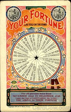 Divided Back Postcard Your Fortune As Told by the Stars: February Astrology & Zodiac Aries Astrology, Pisces, Aquarius, Arte Peculiar, Gypsy Fortune Teller, Fortune Telling Cards, Wheel Of Fortune, Jolie Photo, Gypsy Soul