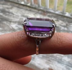 Estate-Huge-custom-28-5-ct-Natural-amethyst-diamond-platinum-Silver-ring-6-5