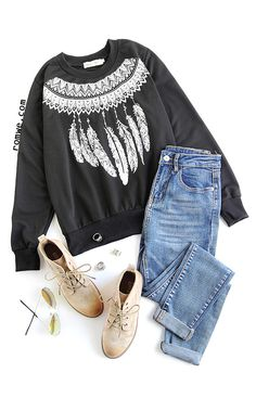 Black Tribal Print Sweatshirt