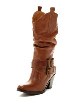 Western ruched boots