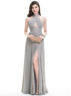 A-Line/Princess Halter Floor-Length Chiffon Prom Dress With Split Front Pleated