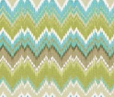 Flamestitch in Citron and Aqua by willowlanetextiles, Gorgeous Nantucket summer collection, upscale.