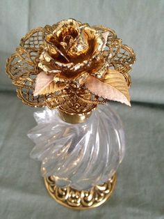 Irice Glass Atomizer Perfume Bottle Decorated Metal Flower Never use tags . - Irice Glass Atomizer Perfume Bottle Decorated Metal Flower Never Used With Tags … – perfume bot - Antique Perfume Bottles, Vintage Bottles, Perfumes Vintage, Beautiful Perfume, Metal Flowers, Metal Roses, Bottle Vase, Bottle Design, Rose Perfume