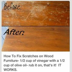 Fix wood: 1/2c vinegar and 1/2c olive oil mixed. Rub into wood. Viola.