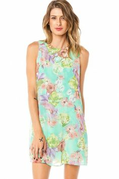 Coletta Bow Tank Shift in Mint Floral
