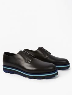 Valentino,Contrast Sole Derby Shoes,BLACK,0
