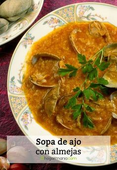 Karlos Arguiñano garlic soup with clams recipe. Clam Recipes, Healthy Recipes, Healthy Food, Spanish Kitchen, Garlic Soup, Thai Red Curry, Ethnic Recipes, Clam Chowder Soup, Stew