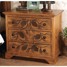 Carved Pinecone Three Drawer Chest