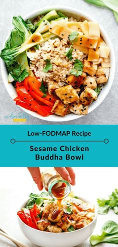 Thought a low FODMAP Buddha Bowl was impossible? This IBS-friendly recipe is hearty, colorful, and packed with nutrients.and you& love the sticky sesame sauce. Time to hop on the trend with this sesame chicken Buddha Bowl! Fodmap Recipes, Diet Recipes, Healthy Recipes, Recipes For Ibs, Ibs Recipes Dinner, Low Fodmap Foods, Crab Recipes, Low Fodmap Chicken Recipe, Protein Rich Recipes