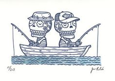 Fishing Calaveras Gocco Print by misnopalesart, via Flickr