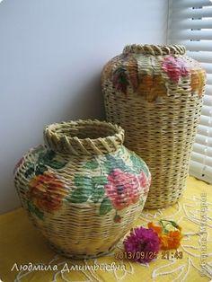 Декор предметов Поделка изделие Декупаж Плетение Плетенки +  Бумага газетная Салфетки Трубочки бумажные фото 1