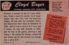 1955 Bowman #149 Cloyd Boyer Back