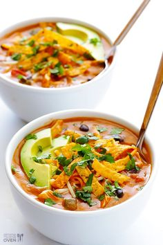 20-Minute Cheesy Chicken Enchilada Soup FoodBlogs.com