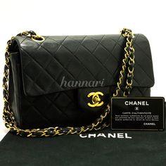 """d15 Authentic CHANEL Vintage 2.55 Double Flap 9"""" Chain Shoulder Bag Black Lamb #CHANEL #ShoulderBag"""