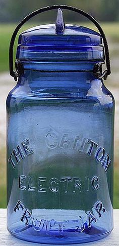MILLVILLE ATMOSPHERIC FRUIT JAR / WHITALLS PATENT JUNE 18TH 1861    Deep cobalt blue quart size jar. Original cast iron yoke clamp and thumbscrew, with matching cobalt blue lid.    Possibly the best fruit jar amongst advanced collectors, with only 4 examples known.