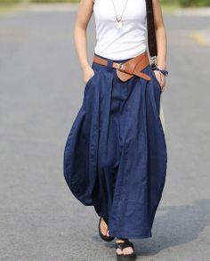 dark blue lantern skirt Petal linen skirt Maxi Dress summer flax skirt Linen dress Casual dress pocket skirt Bud Long flax skirt