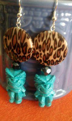 Tiki earrings blue blue tiki tiki culture hawaii by msformaldehyde, $12.50