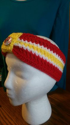 hand made Crochet KC Chief Headband - pinned by pin4etsy.com f7237a5a9745